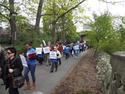 Ramapo march across campus