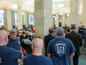 Many firefighters attended to call attention to public safety implications of cuts