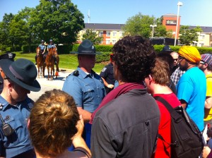 Students were blocked from marching onto the Sallie Mae portion of the corporate park