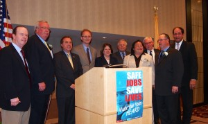 Honorees with Middlesex legislators: Woodbridge Mayor John E McCormac second from left