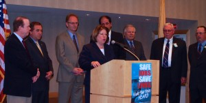 Sen. Linda Greenstein with fellow Middlesex legislators