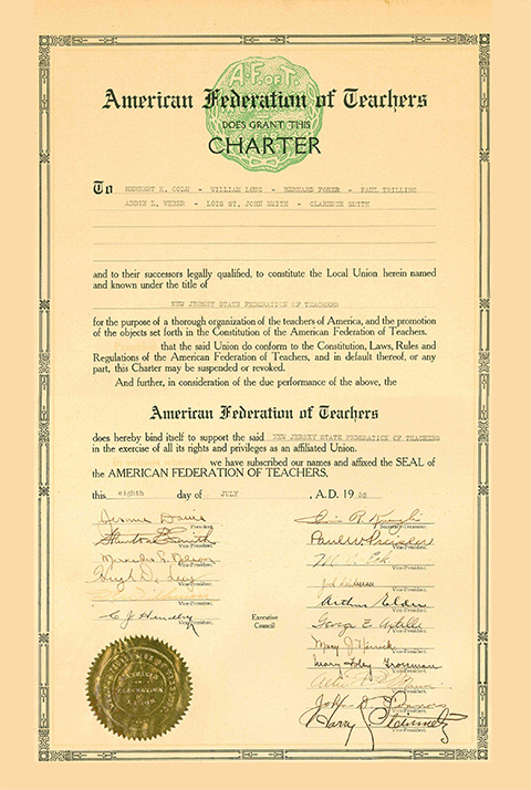 NJ State Federation of Teachers Charter 1938