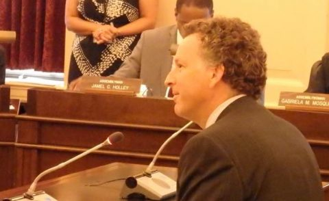 David Hughes testifies in favor of legislation to erase student debt when the student has died