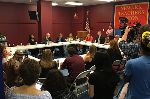 Randi Weingarten, Phil Murphy, Sheila Oliver, Antoinette Baskerville-Richardson and Donna M. Chiera met with teachers from Garfield, Newark, North Bergen and Perth Amboy to talk education policy