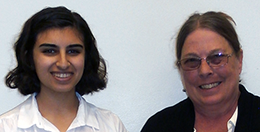Zahra Bukhari (left) with Kay Schechter (right)