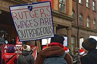 Protesting poor wages for Rutgers faculty and the slow pace of contract negotiations