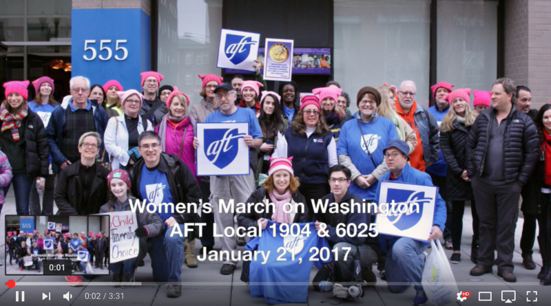 Montclair State University AFT at womens' march